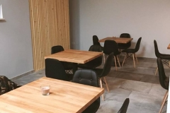 partition wall and beech tables